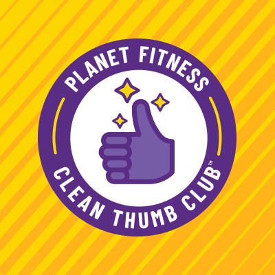 Planet Fitness Clean Thumb Club with purple sparkling clean thumb